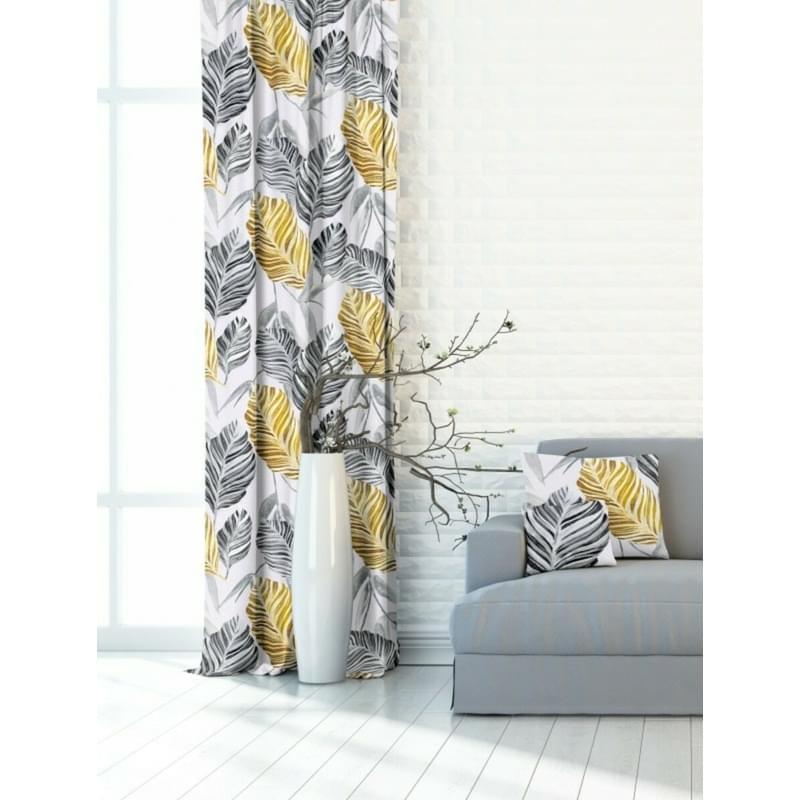 Závěs dekorační nebo látka, OXY Listy Dorea, šedožlutá, 150 cm