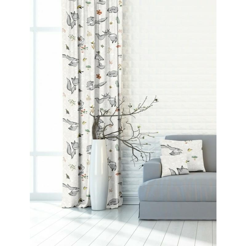 Závěs dekorační nebo látka, OXY Lišky, šedožlutá, 150 cm