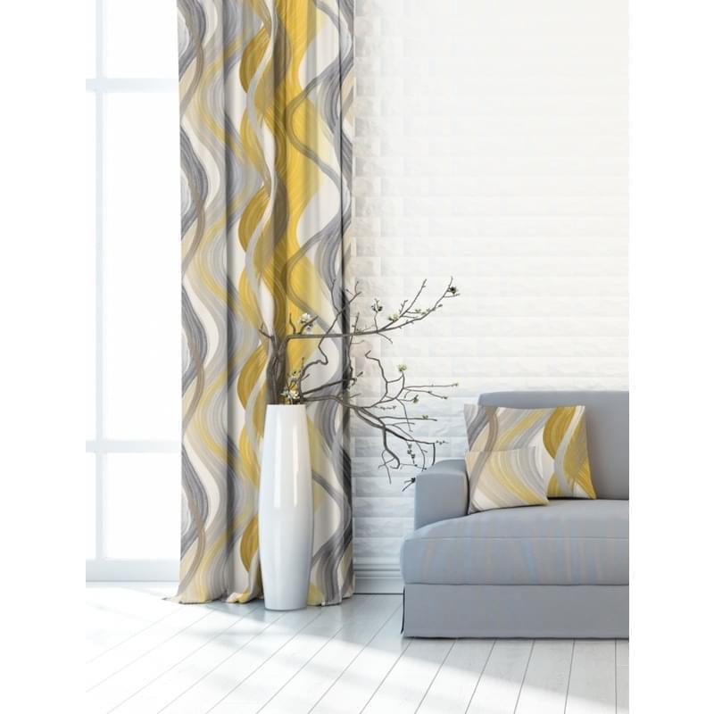 Forbyt, Závěs dekorační nebo látka, OXY Vlny, žluté, 150 cm