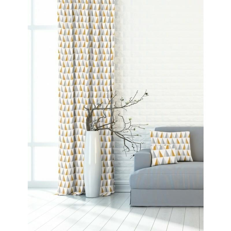 Závěs dekorační nebo látka, OXY Žlutošedé trojúhelníčky, šedožlutá, 150 cm