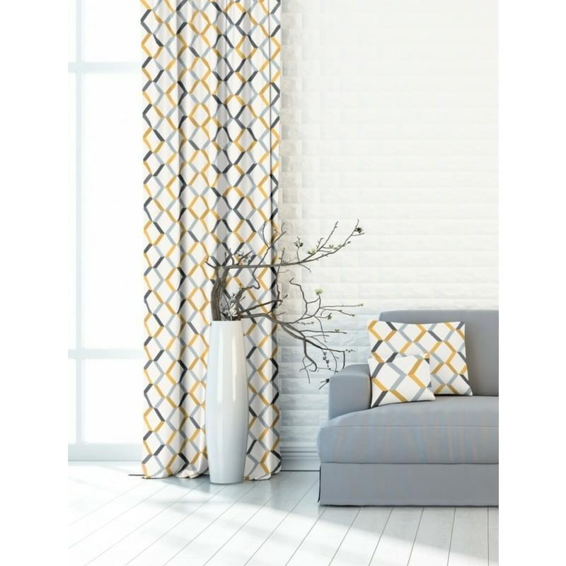 Závěs dekorační nebo látka, OXY Žlutošedá geometrie, šedožlutá, 150 cm