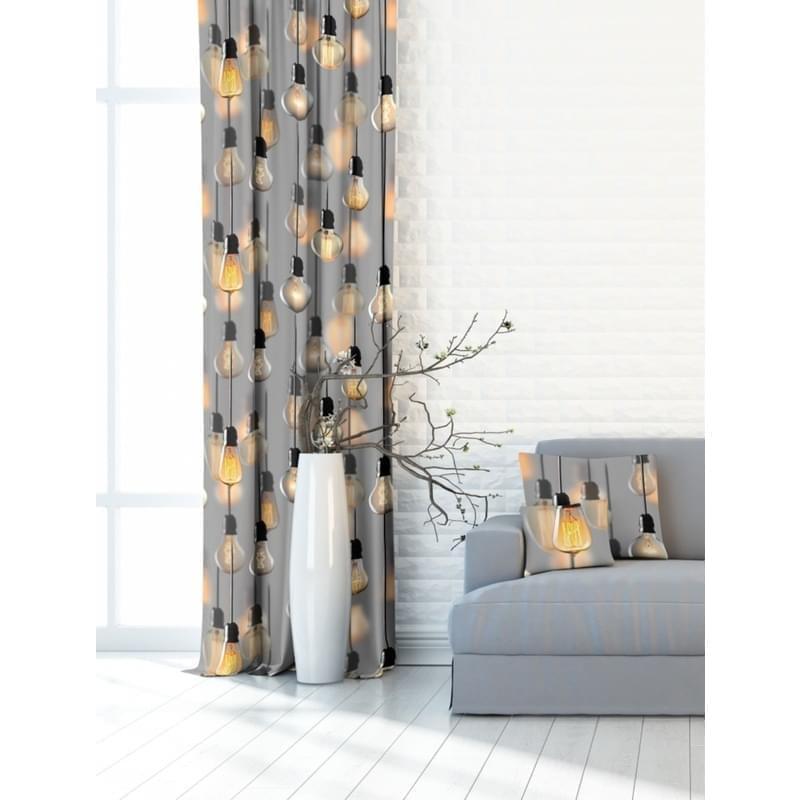 Forbyt, Závěs dekorační nebo látka, OXY Žárovky, šedý, 150 cm