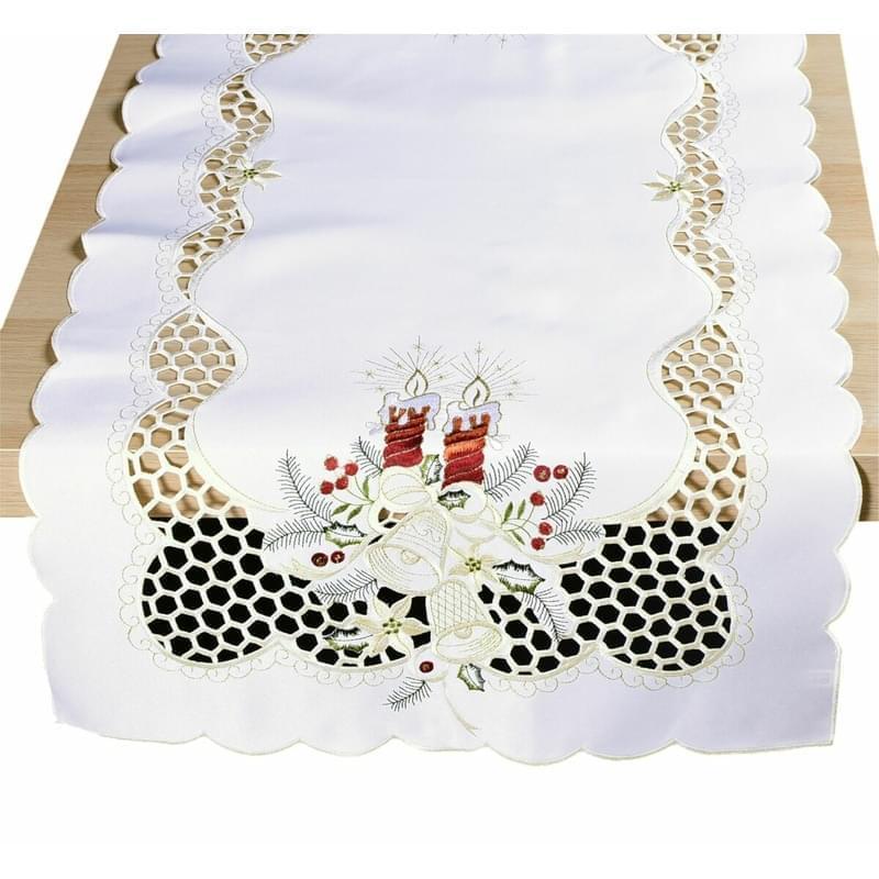 Ubrus vánoční, Dvě bordové svíčky, smetanová 50 x 100 cm