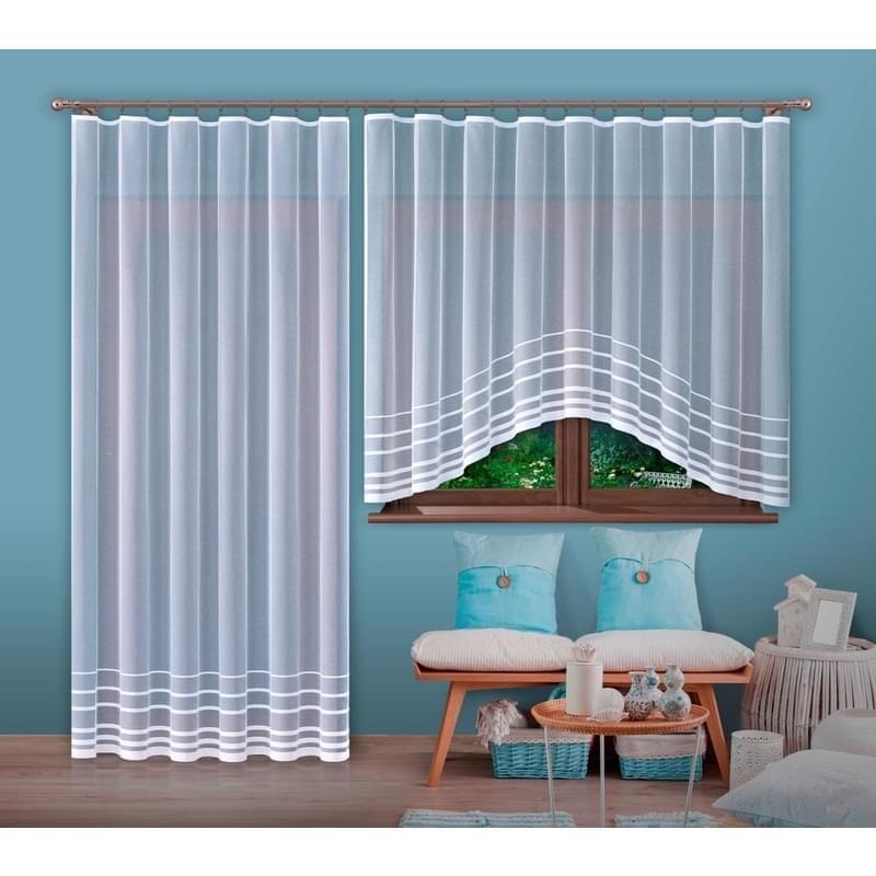 Forbyt, Hotová záclona nebo balkonový komplet, ROMANA, bílá 300 x 150 cm