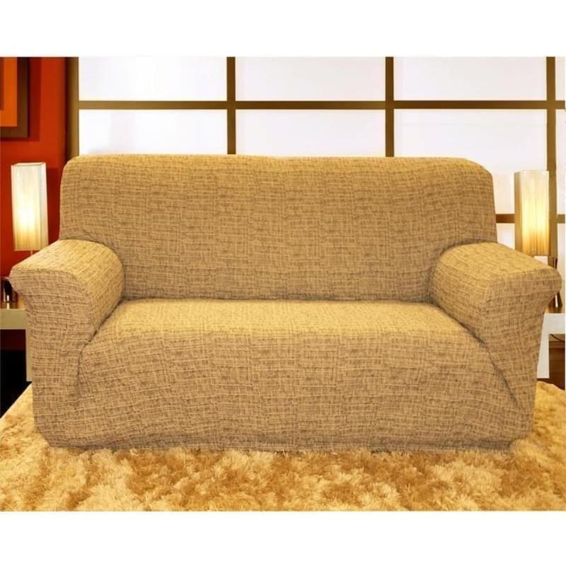 Forbyt, Potah elastický na sedací soupravu, Andrea, hnědo-smetanová čtyřkřeslo - š. 220 - 260 cm