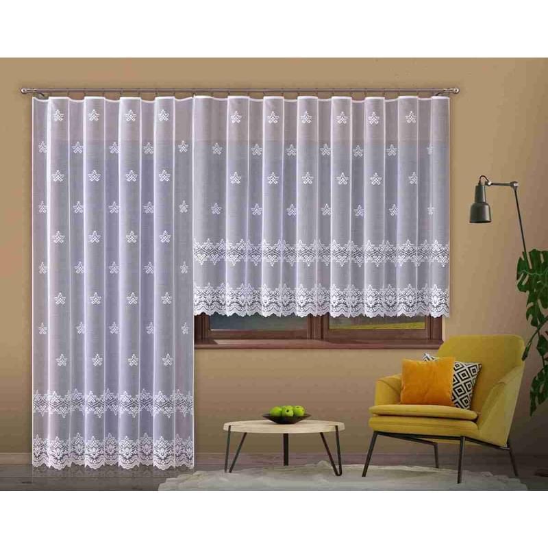 Forbyt, Hotová záclona nebo balkonový komplet, Bela, bílá 300 x 150 cm