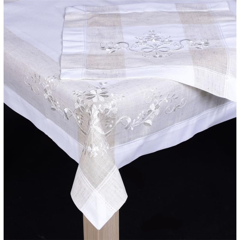 Forbyt, Ubrus celoroční, Režný s květinou, bílý 35 x 50 cm