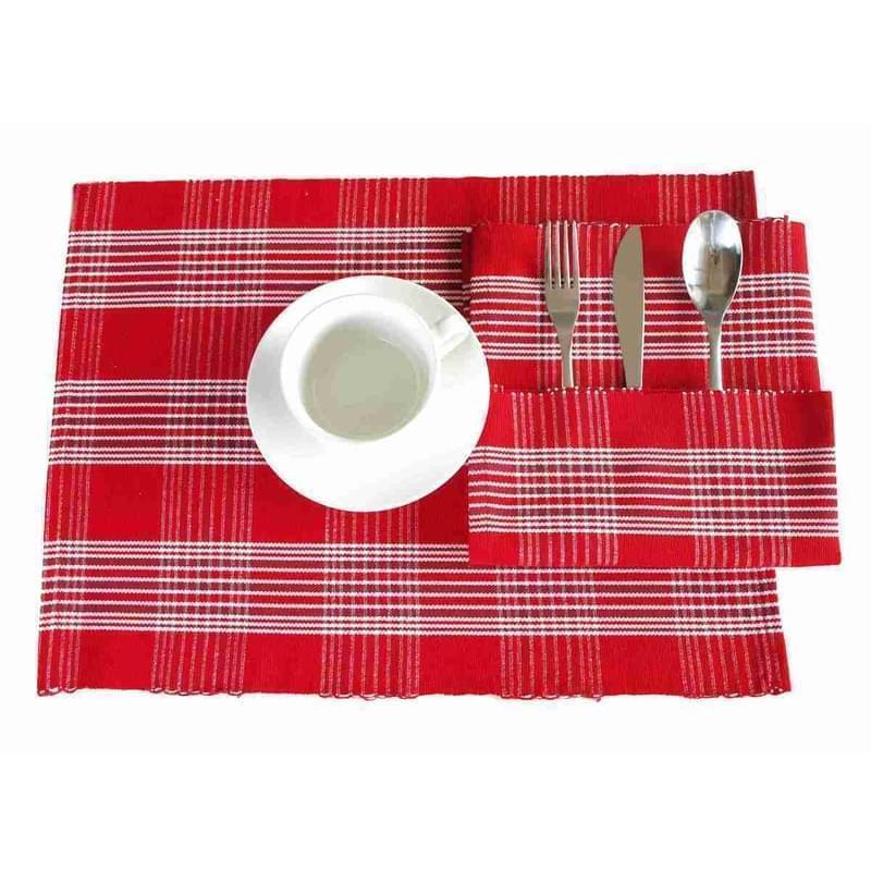 Forbyt, Prostírání bavlněné, Mřížka červená 40 x 120 cm