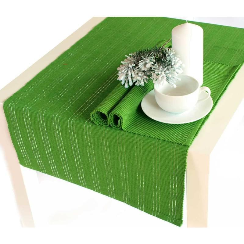 Forbyt, Prostírání bavlněné, Proužky, zelené, obdélník 40 x 120 cm