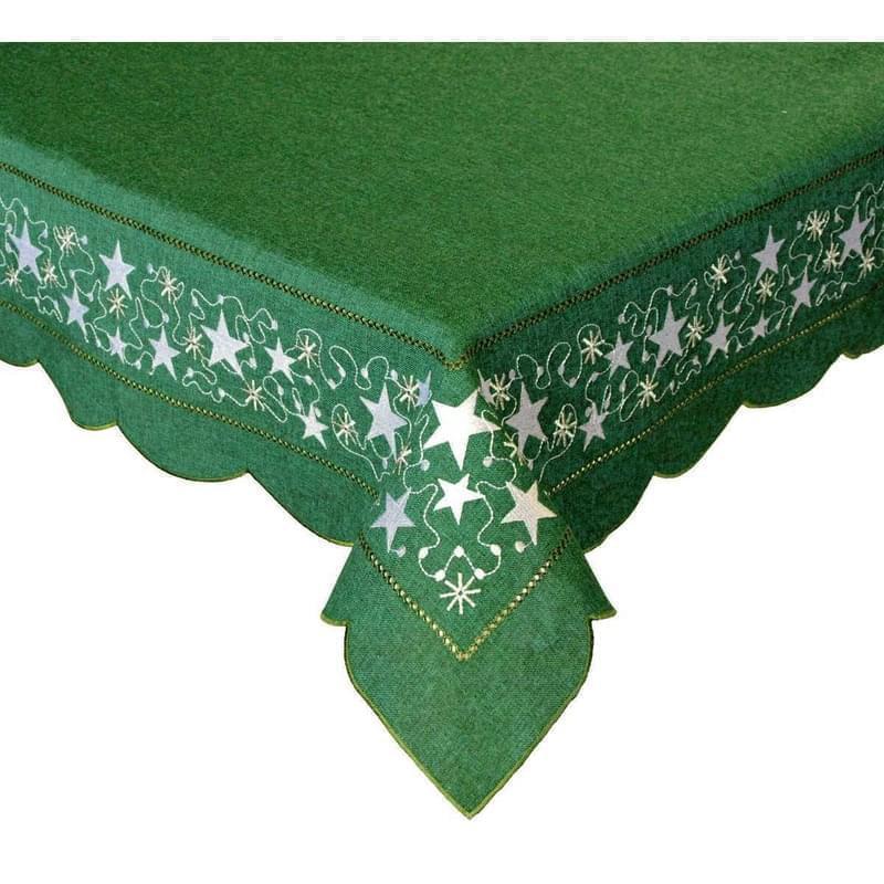 Forbyt, Vánoční ubrus, Stříbrná hvězda, zelený 35 x 70 cm