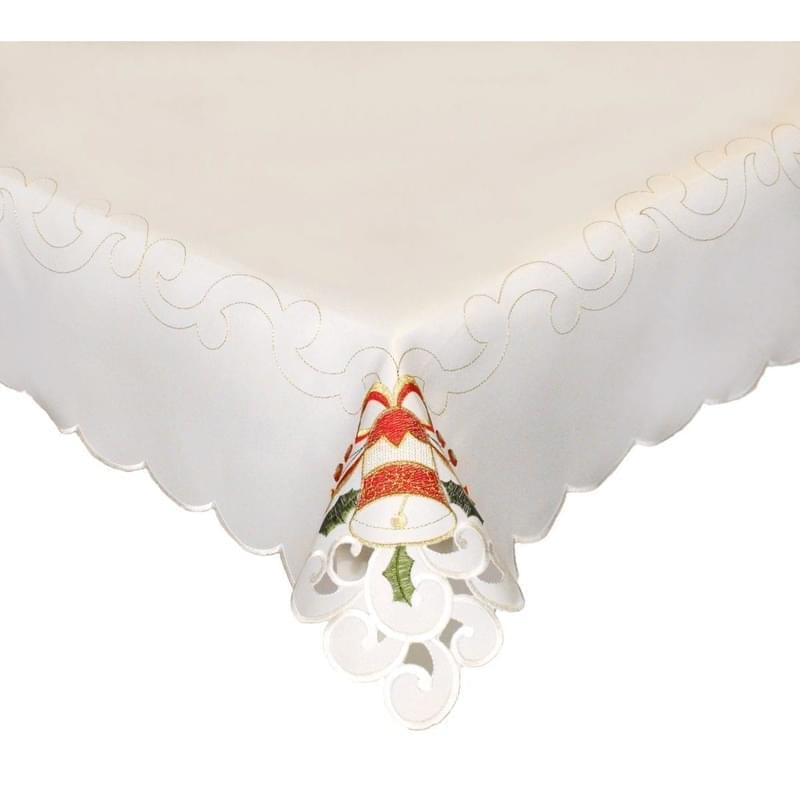 Forbyt, Vánoční ubrus, Káro a svíce, červený 85 x 85 cm