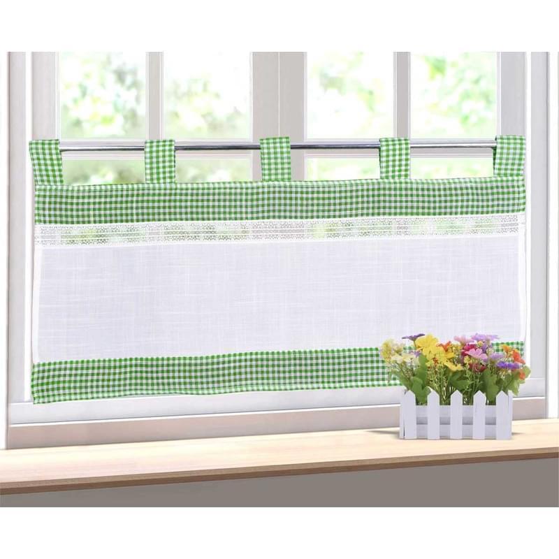 Forbyt, Hotová záclona, Kostička a krajka, zelená, 40 x 80 cm