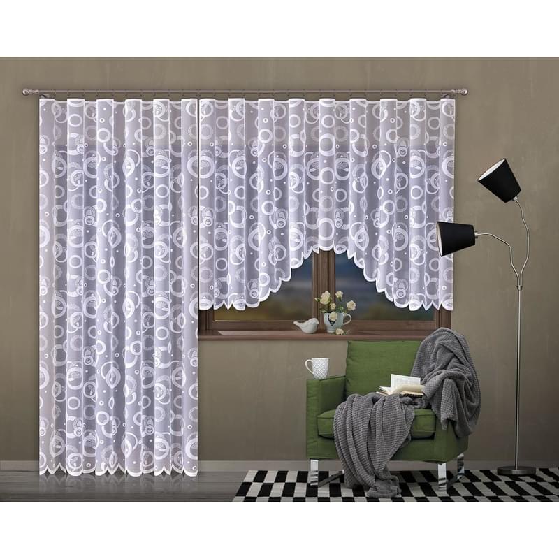 Forbyt, Hotová záclona nebo balkonový komplet, Moderna, bílá 350 x 160 cm