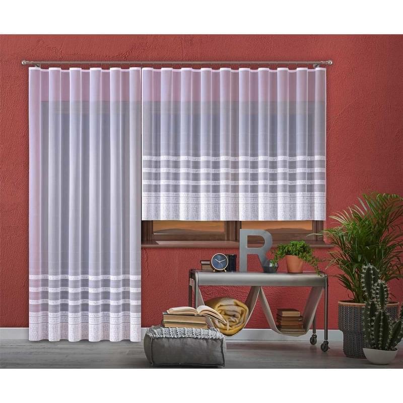 Forbyt,Hotová záclona nebo balkonový komplet, Karolína, bílá 300 x 150 cm