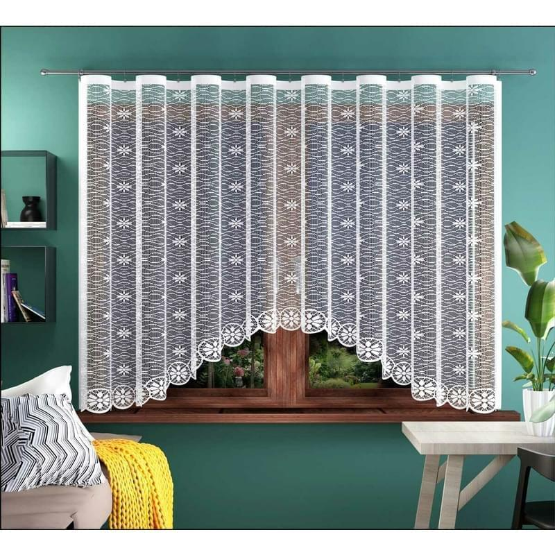 Forbyt, Hotová záclona nebo balkonový komplet, Květa, bílá 300 x 150 cm