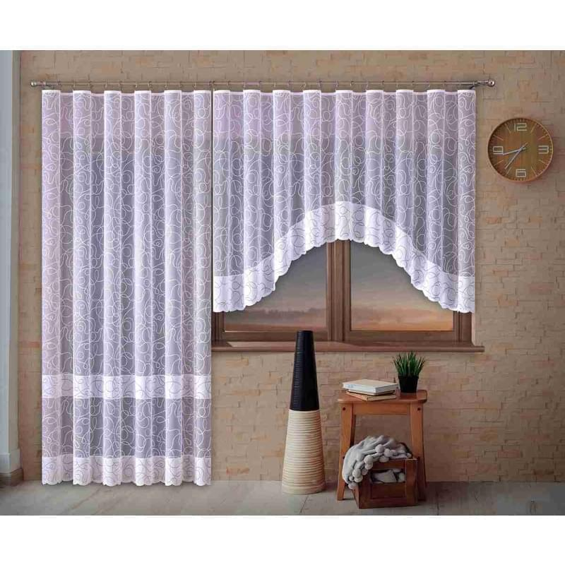Forbyt, Hotová záclona nebo balkonový komplet, Martina, bílá 220 x 120 cm