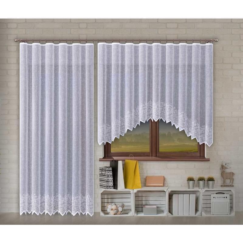 Forbyt, Hotová záclona nebo balkonový komplet, Olympia, bílá 220 x 120 cm