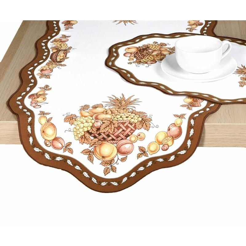 Levně Ubrus celoroční, Ovoce, hnědý 42 x 85 cm ovál