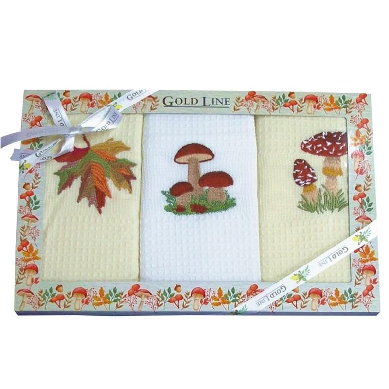 Forbyt, Bavlněné utěrky Dárkové balení, List a hříby, sada 3 ks, 50 x 70 cm