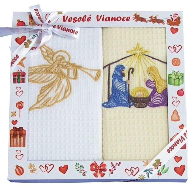 Forbyt, Bavlněné utěrky Vánoční Dárkové balení, Jesličky, sada 2 ks, 50 x 70 cm