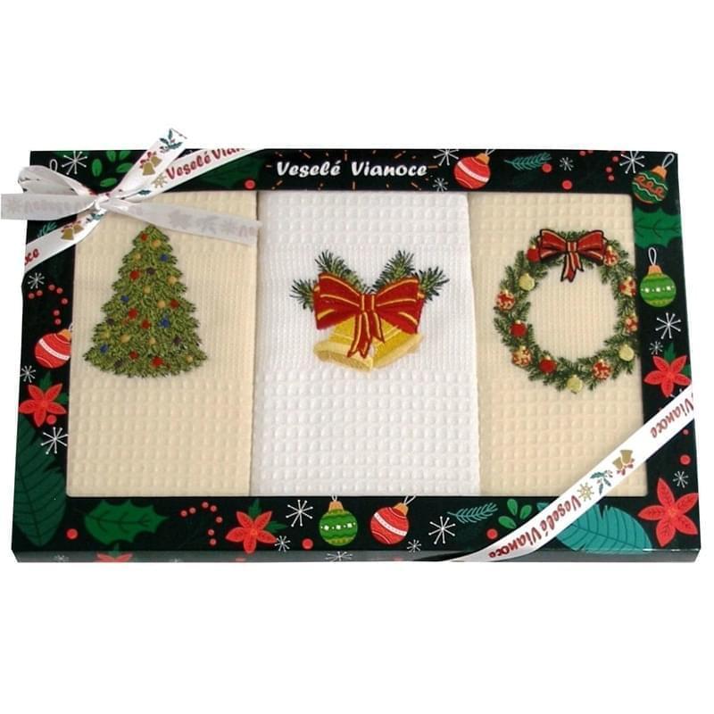 Forbyt, Bavlněné utěrky Vánoční Dárkové balení, Stromeček, sada 2 ks, 50 x 70 cm