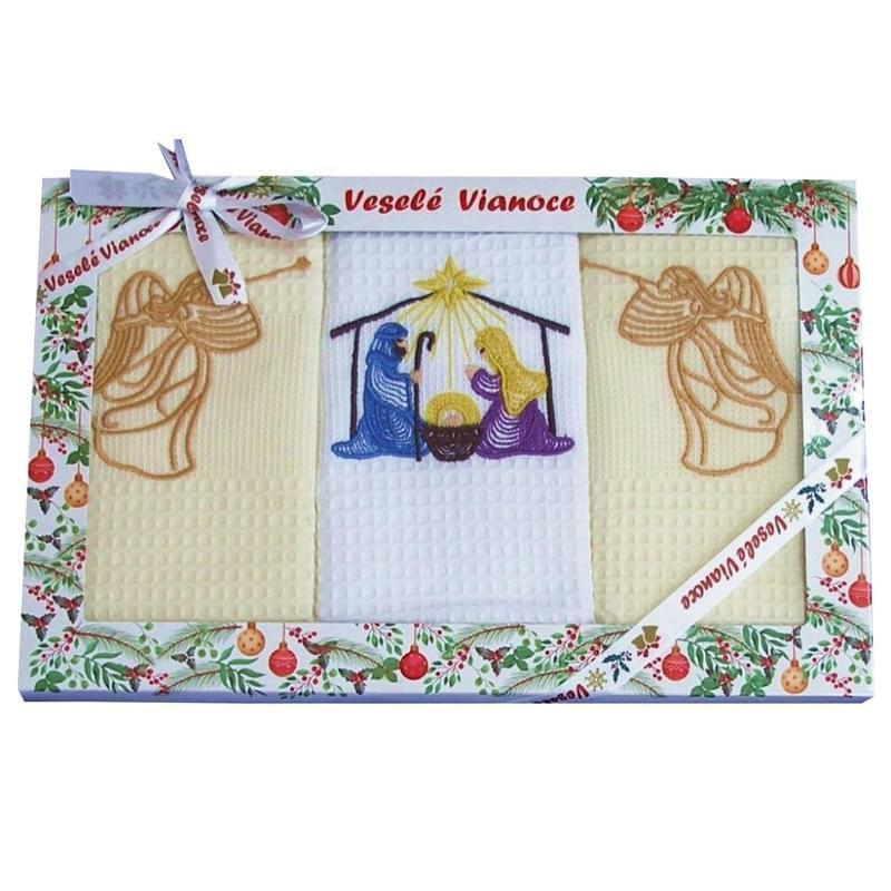 Forbyt, Bavlněné utěrky Vánoční Dárkové balení, Jesličky, sada 3 ks, 50 x 70 cm