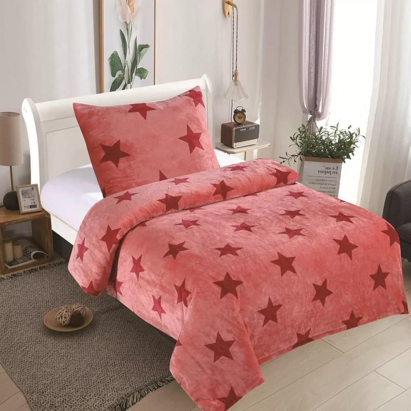 Forbyt, Ložní povlečení mikroflanel, Hvězdičky růžové 140 x 200 cm + 70 x 90 cm