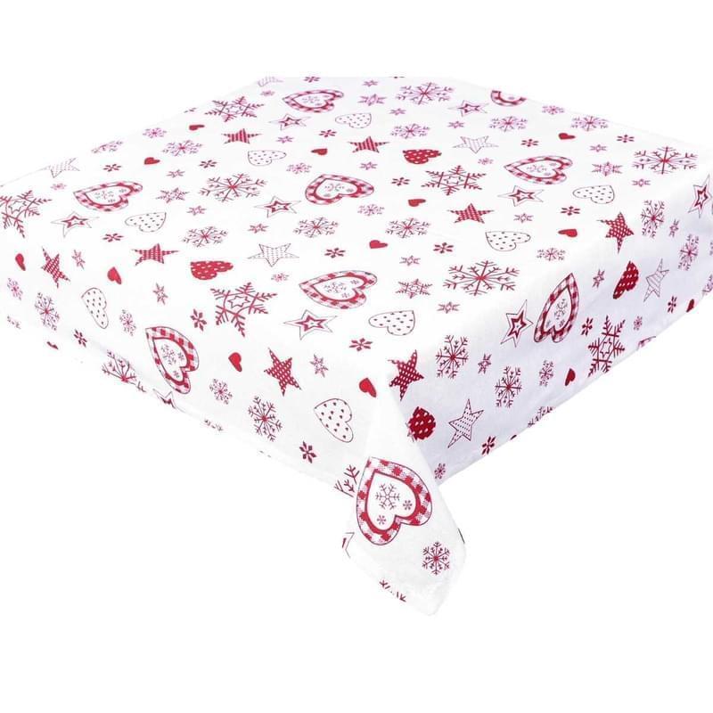 Forbyt, Ubrus bavlněný, Vánoční, červený 140 x 180 cm