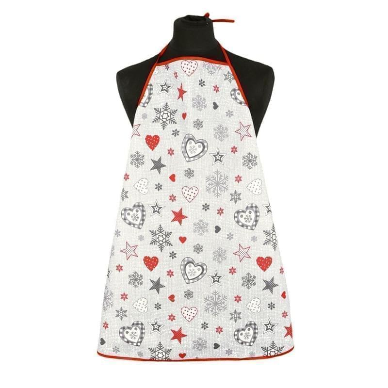 Forbyt, Zástěra kuchyňská, Vánoční hvězdy a srdce, červenošedá