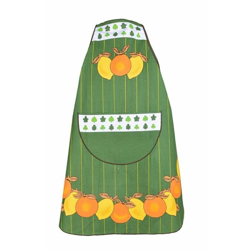 Zástěra kuchyňská, Citróny a pomeranče, zelená