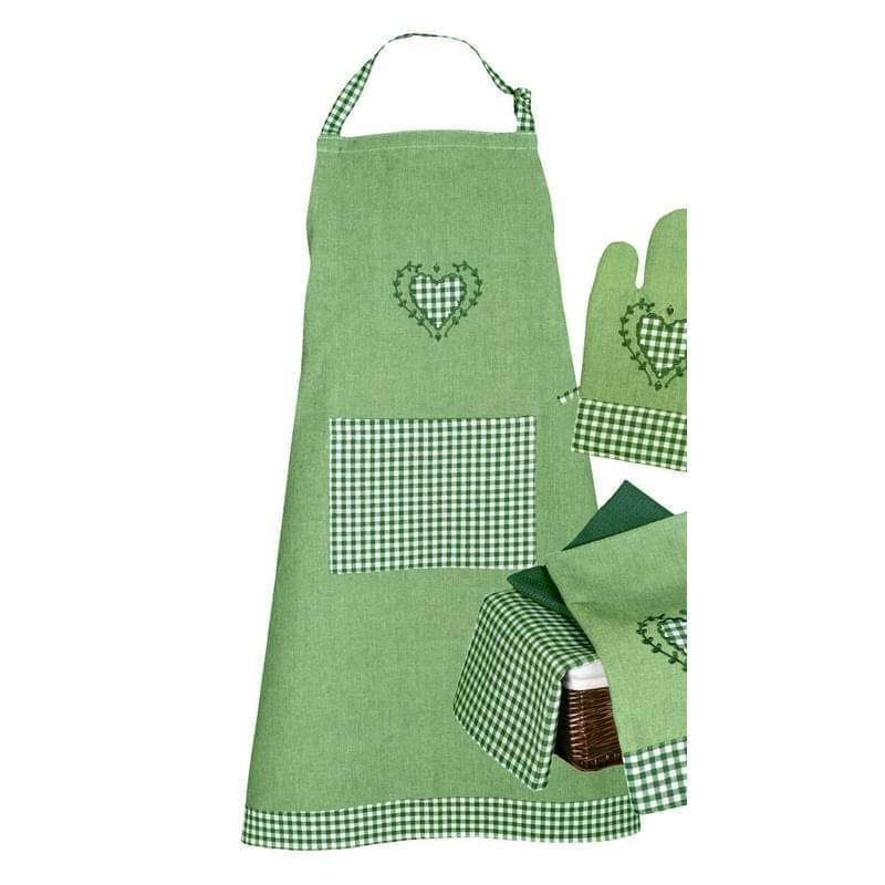 Zástěra kuchyňská, Srdíčko a káro, zelená