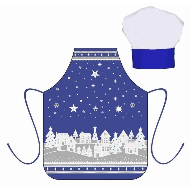 Forbyt, Zástěra dětská s kuchyňskou čepicí, Zimní vesnička, modrá