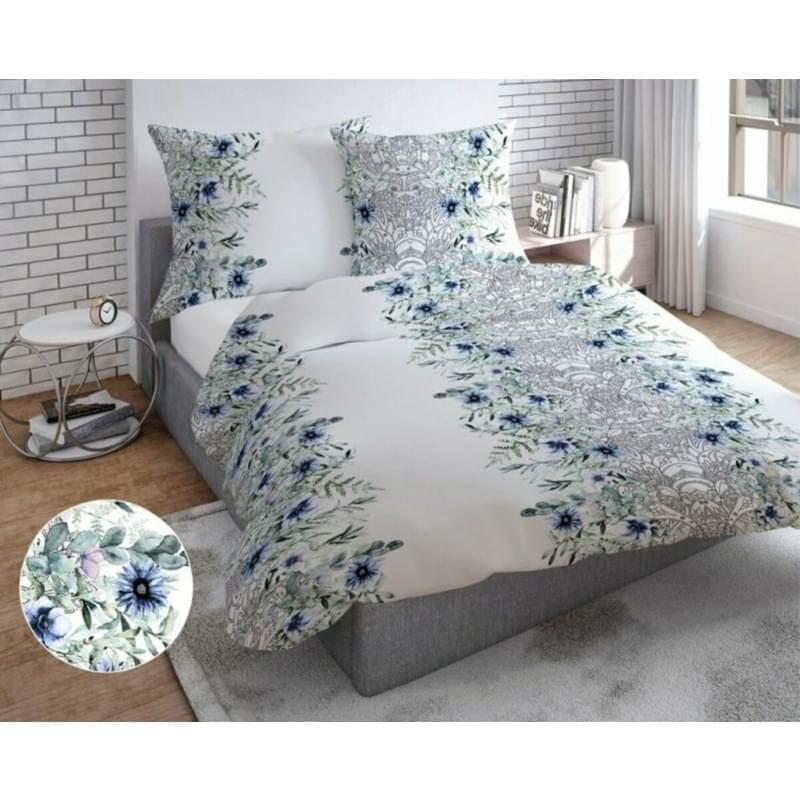 Povlečení, bavlněný satén Modrozelené květy, 140 x 200/70 x 90 cm 140 x 200 cm + 70 x 90 cm
