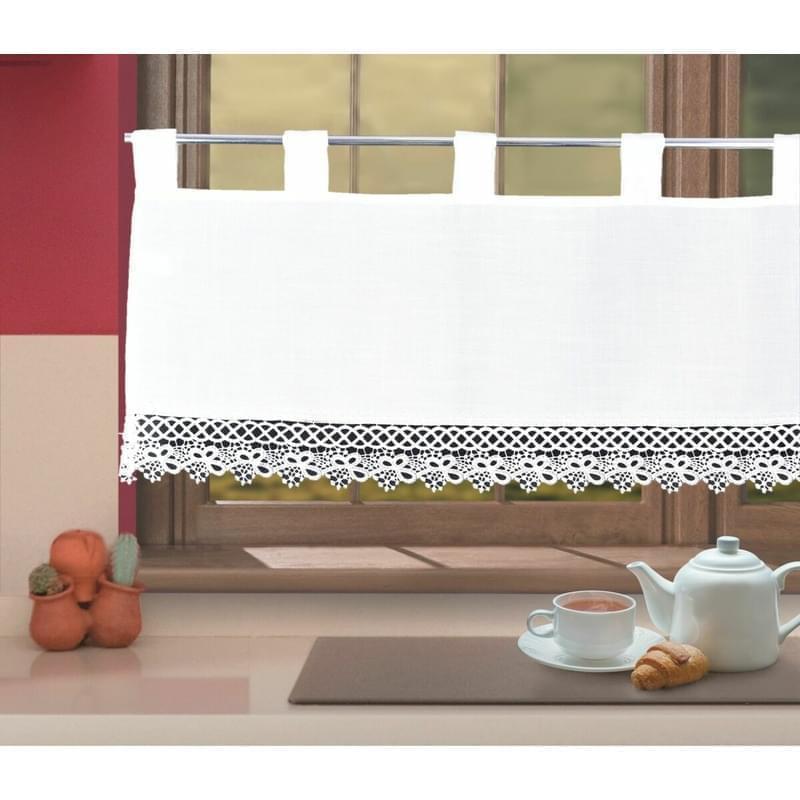 Hotová záclona, Mája, bílá, 40 x 80 cm
