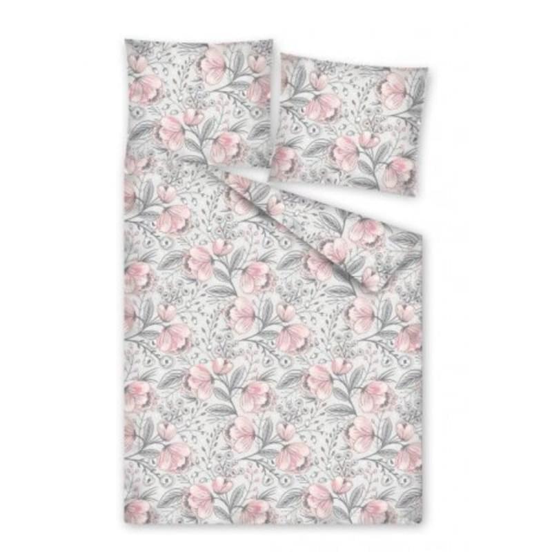 Forbyt, Povlečení bavlněné, Flanel Květy šedorůžové,140 x 200 + 70 x 90 cm