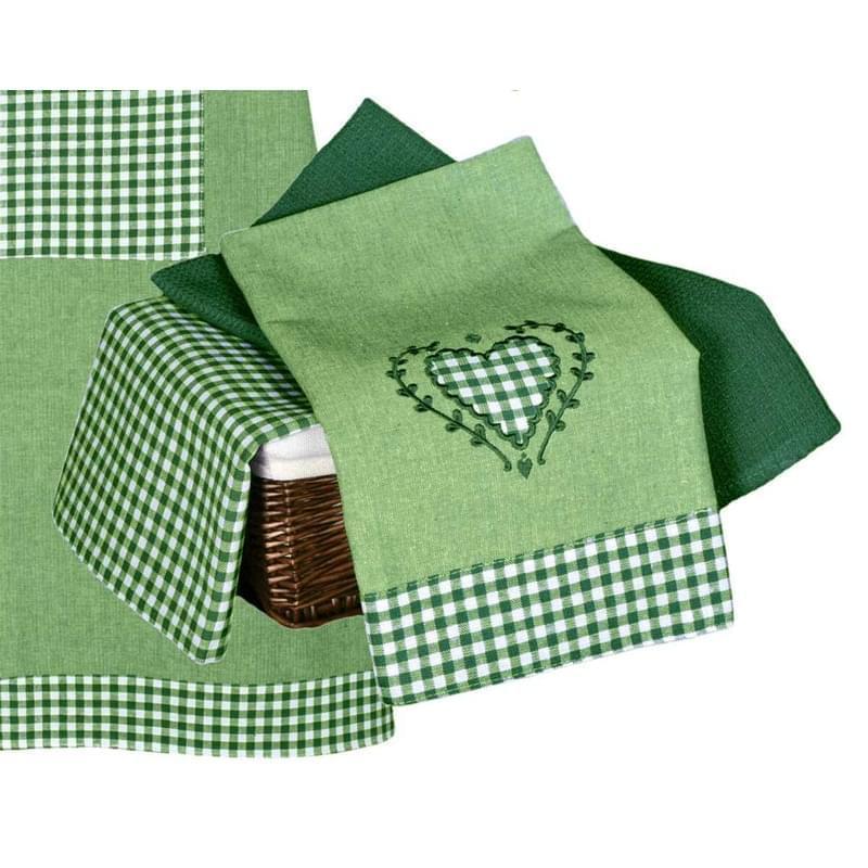 Utěrka bavlněná, Srdíčko a káro komplet 3 ks, zelená